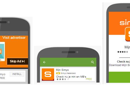 Simyo app advertenties