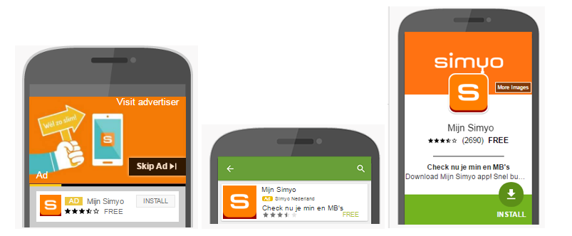 Simyo app advertenties