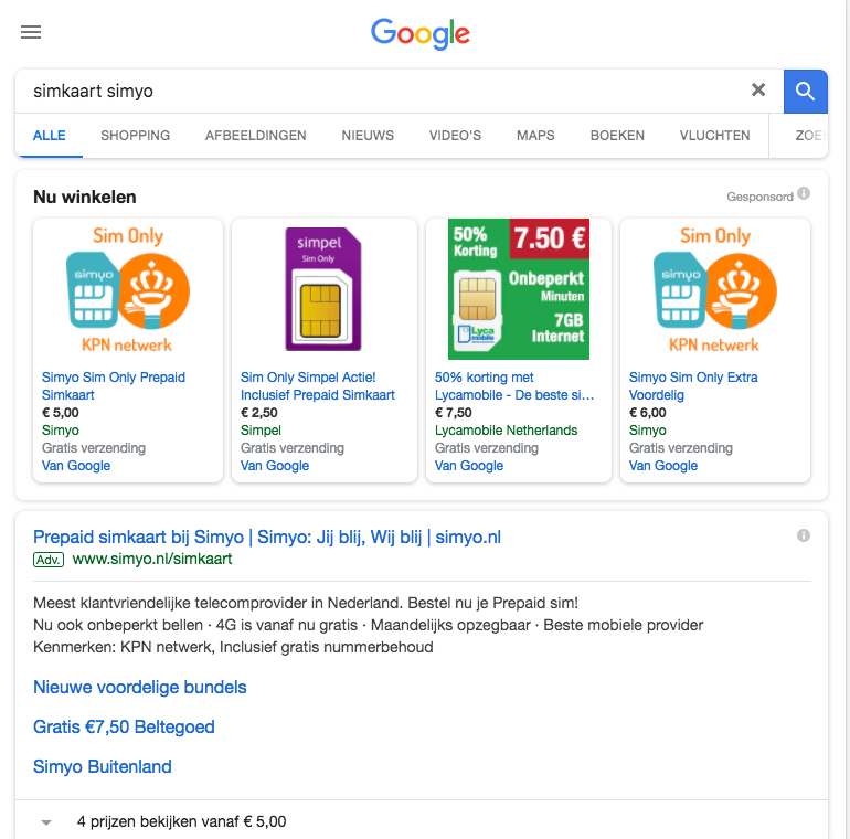 Google Shopping resultaat