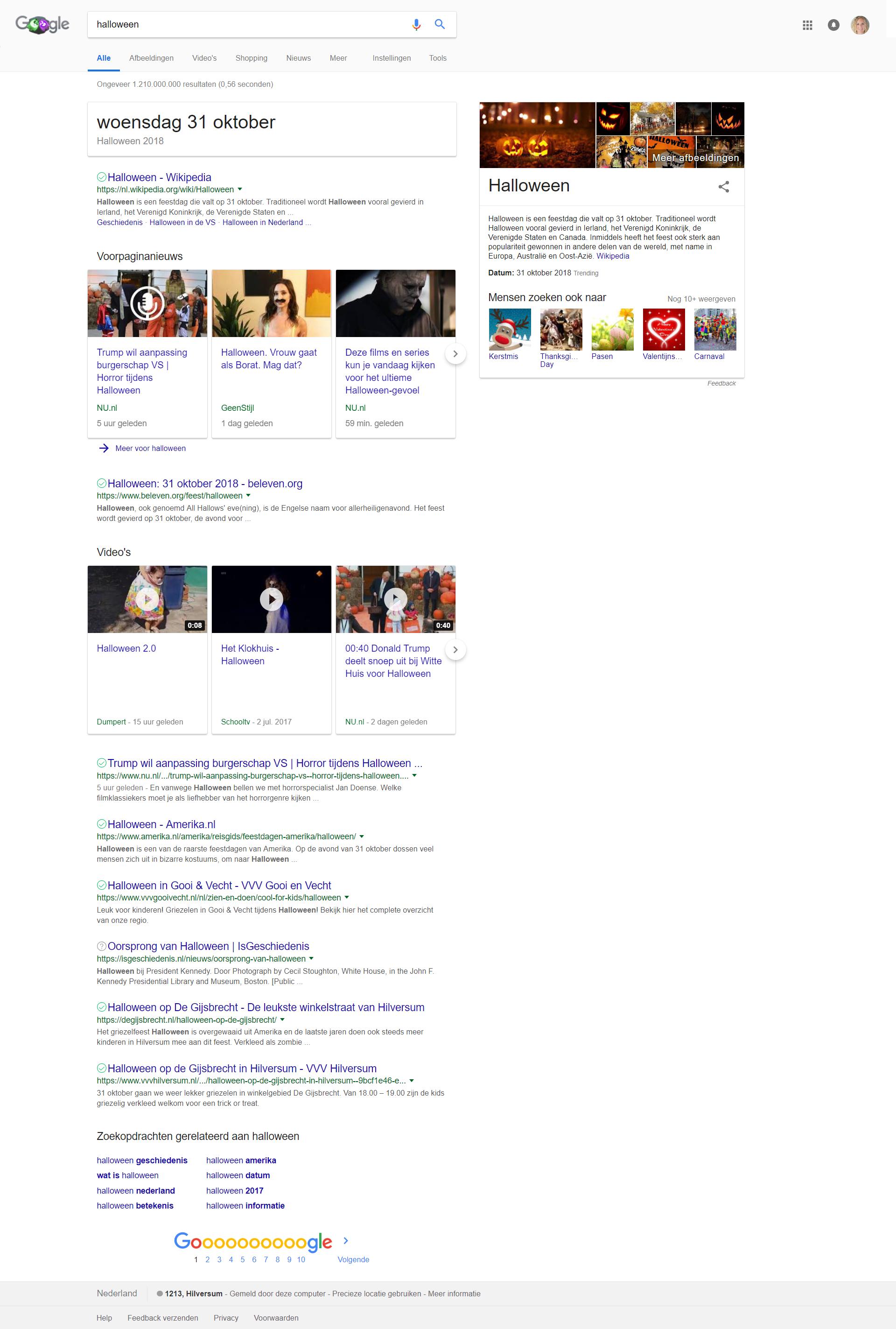 Contentmarketing en lokaal zoeken in Google Search - Halloween voorbeeld