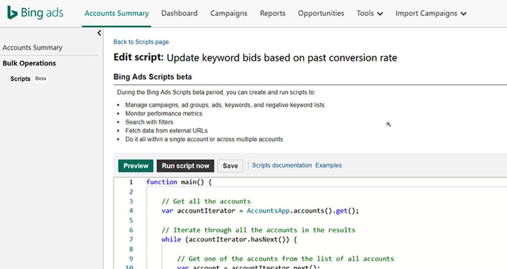Bing scripts tool