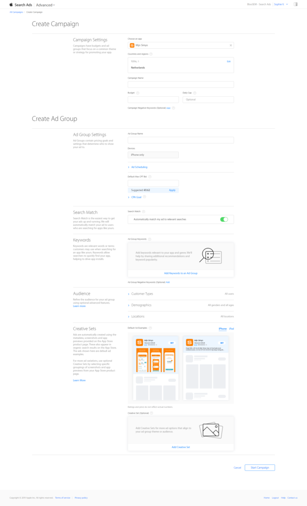 Apple Search Ads Campaigns in Apple App Store