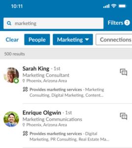 LinkedIn - service provider vinden