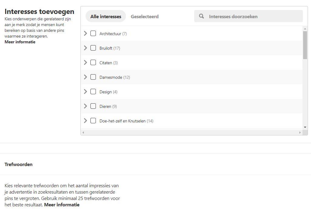 Targeting opties Pinterest - interesses en trefwoorden